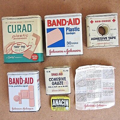 Vtg Johnson Johnson Band-Aid Gauze Red Cross Tape Curad Anacin Metal Tin Boxes