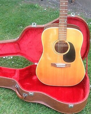 1970's Yamaki Folk Deluxe Guitar Made In Japan With Hard Case Great Tone