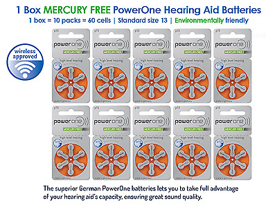 (1 Box of 60 Cells) NEW PowerOne Hearing Aid Batteries Size 13 Mercury Free
