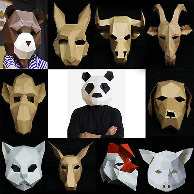 DIY Paper Mask Headgear Animal Creative Party Halloween Costume Cosplay fun