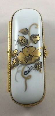 Vintage Limoges France Trinket Box White With Gold Accents
