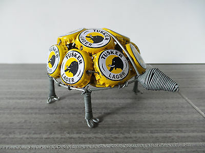 Tusker Lager Beer Turtle Recycled Bottle Cap Metal Kenya Africa African Art Gift