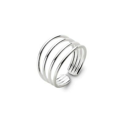 NEW Sterling Silver Four Band Toe Ring Adjustable Boho Beach Style