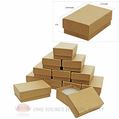 """12 Brown Kraft Cotton Filled Jewelry Gift Boxes Charm Ring Box  2 5/8"""" X 1 1/2"""""""