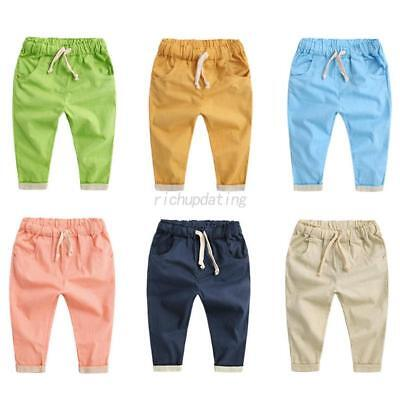 Infant Boy Girl Cotton Linen Trousers Baby Kid Solid Casual Trousers Harem Pants