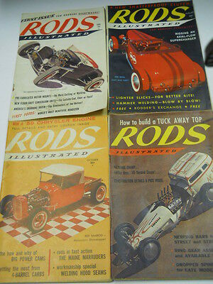 Lot of 4~1958~1959 Rods Illustrated Magazines~~Hot Rod Cars~1st ~ 3 issues~12