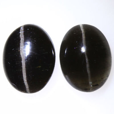 3.060 Ct VERY RARE FINE QUALITY 100% NATURAL SILLIMANITE CAT'S EYE INTENSE PAIR!