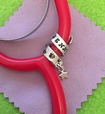 Personalised Stethoscope ID Charm. Hand stamped. Vet, Nurse, Doctor, Midwife.