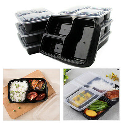 10x Microwave Safe Stackable Meal Prep Containers Reusable Plastic Food Storage