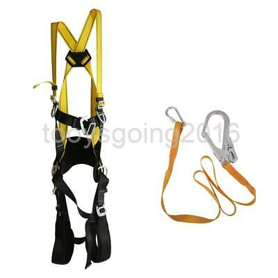 Rock Climbing Rappelling Fall Protection Full Body Safety Harness & Lanyard