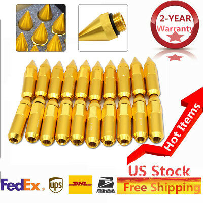 20PC Gold M12X1.5 60MM Extended Aviation Aluminum Tuner Racing Lugs Nuts Set NEW