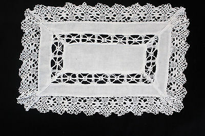 Vintage small white linen cloth with crochet edge.