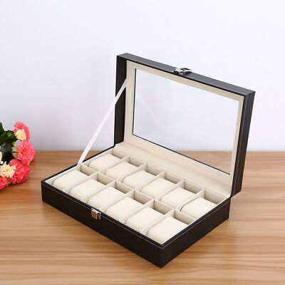 Exquisite 12 Grids Watch Display Case PU Leather Jewelry Storage Box Organizer