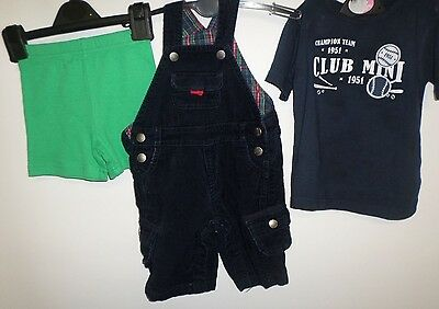 Baby Boys Age 3-6 Months T-Shirt Cord Dungarees And Shorts Navy Green Bundle