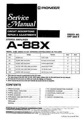 Pioneer A-88X Stereo Amplifier Service Manual On Cd-R