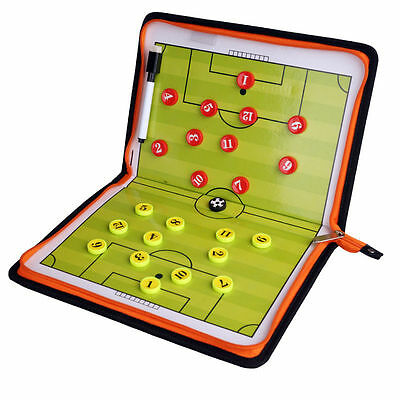 Magnetic Training Football Pro Soccer Coach Tactic Board Folder Leather Portable