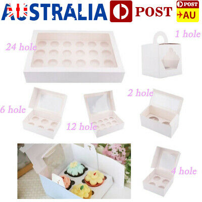 Cupcake Box Window Face Party Baking Wedding Range 1/2/4/6/12/24 Holes