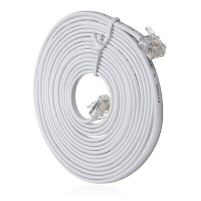 10m Metre RJ11 To RJ11 Telephones Cable 4 Pin 6P4C Plug For ADSL Router
