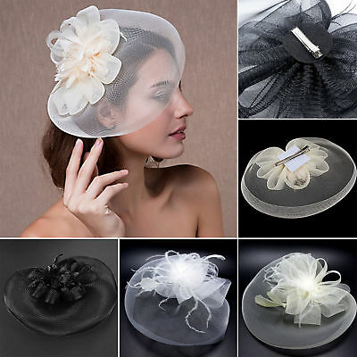 Women Hair Accessory Clip Fascinator Large Netting Hat Handmade Wedding Party