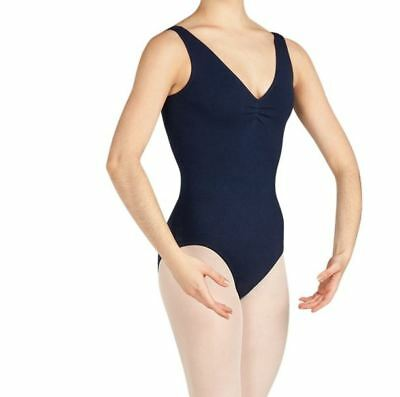Capezio Women's Navy Tank Leotard w/Belt Pinch Front dance ballet szS BNWT (18)