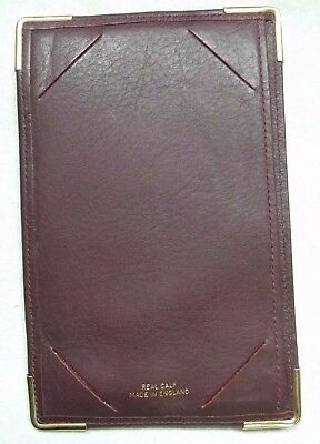 REAL CALF LEATHER BUSINESS CARD NOTEPAD WALLET BURGUNDY VINTAGE 1980s 1990s