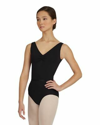Capezio Women's Black Tank Leotard w/Belt Pinch Front dance ballet szL BNWT (18)