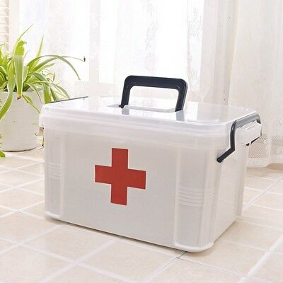 Latest First Aid Kit Safety Drug Storage Box 2 Layer Emergency Case Home Office