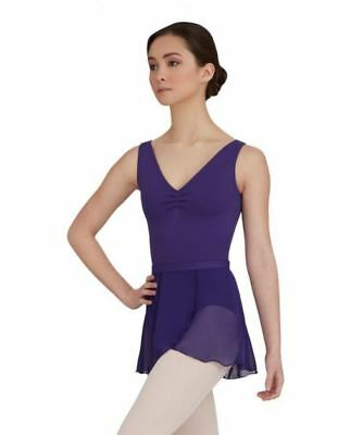 Capezio Women's Deep Purple Tank Leotard w/Belt Pinch Front ballet szL BNWT (18)