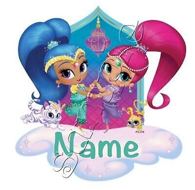 Iron on Transfer PERSONALISED ANY FIRST NAME SHIMMER AND SHINE cloud cat monkey