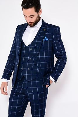 Mens Marc Darcy Designer Blue Windowpane Check Print Blazer Country Style Jacket