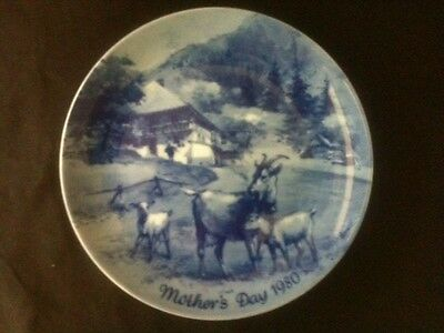 """Mother's Day 1980 Nirscuke Berlin Blue China 7 3/4"""" Plate Made In West Germany"""