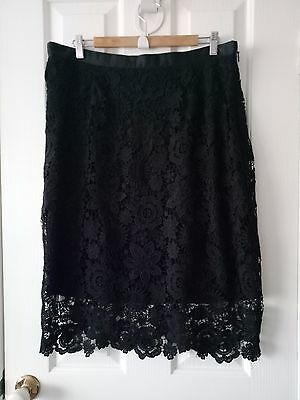 City Chic Black Floral Lace Pencil Skirt Size XS