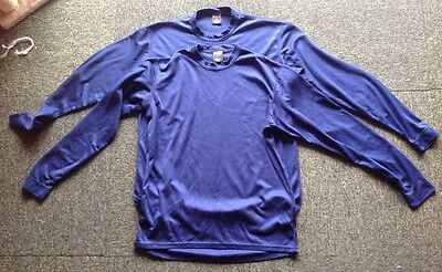 Two Patagonia Capilene long sleeved mens blue camping hiking t-shirts in VGC