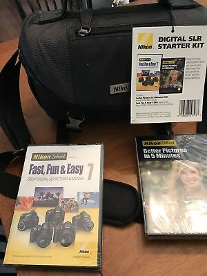Nikon Digital SLR Camera Case Gadget Bag W/Dividers NEW W/ 2 Dvd's