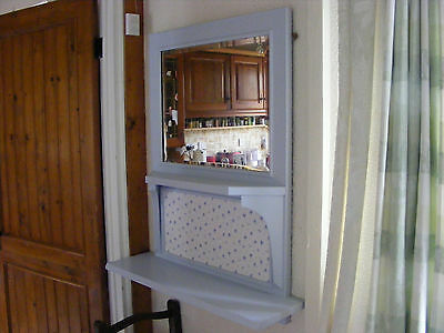 Beautiful Bevelled Mirror In Frame And Shelf Vintage Item Painted Soft Blue