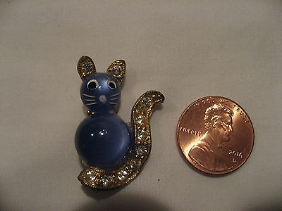 Vintage Cat Pin is Purrrrfectly Charming! Rhinestone