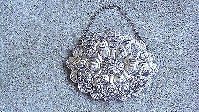 Antique 900 Sterling Silver Turkish Wedding Mirror Repousse Hand Stamped Signed