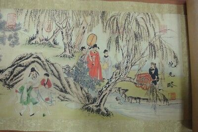 "Very Long Rare Old Chinese Scroll Painting Figures ""NiYuanLu"" Marks QA151"