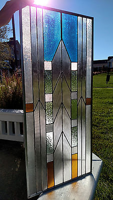 "METROPOLIS Stained Glass Window Panel Transom 15 1/4"" x 33 5/8"""