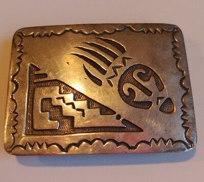 Sterling Silver Overlay Bear Paw Native American Belt Buckle