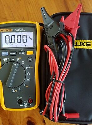 Fluke 116 True-Rms Digital Multimeter With Carrying Case, Leads & Manual Paper!