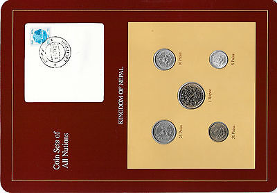 Coin Sets of All Nations Nepal Brown w/card 1979 - 1986  UNC stamped 8NOV87