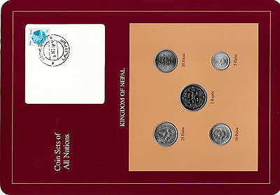 Coin Sets of All Nations Nepal w/card all 1988 UNC but 10 Paisa 1987 Pink