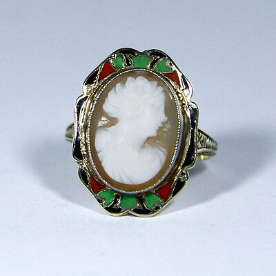 Unusual Art nouveau ring (585 Yellow gold) with Cameo