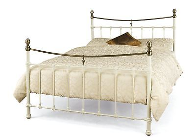 Edwardian Style Classic 5Ft Metal Bed Frame - King Size - Ivory / Antique Bronze