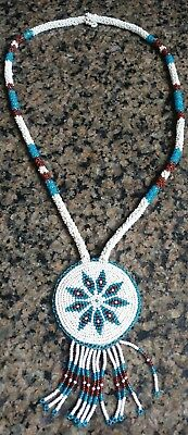 Vintage Native American Beaded Necklace Medallion Necklace WY Shoshone