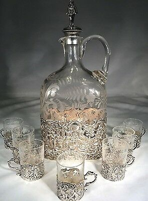 Antique German Johann S. Kurz & Co 925 Silver Decanter With 7 - .800 Silver Cups
