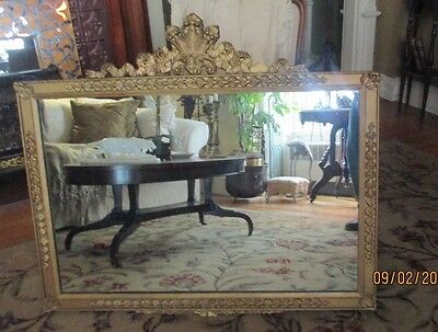 "antique     Vtg 36""  French Gilt Gold Hollywood Regency Wood Ornate Wall Mirror"