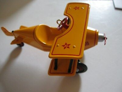 HALLMARK Ornament Kiddie Car Classics 1930 CUSTOM BIPLANE ~  Airplane 2001 NEW