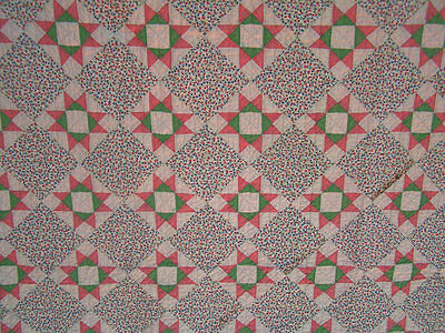 Vintage Colorful 30s/40s Handmade Pieced 8 Point Stars Quilt Jadite Pink White